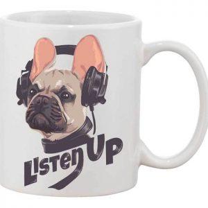 Fülhallgatós bulldog bögre