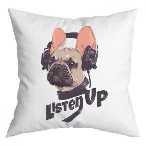 Fülhallgatós bulldog párna