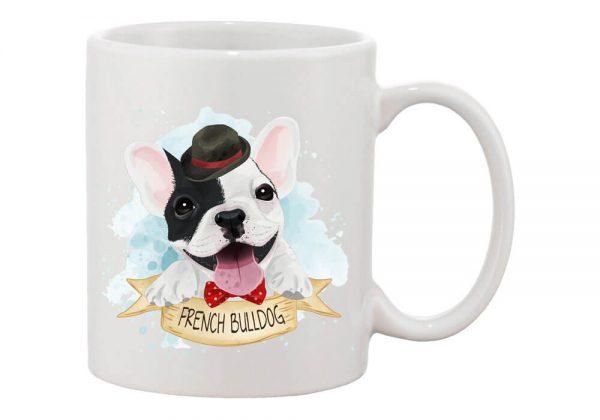 Kalapos francia bulldog bögre