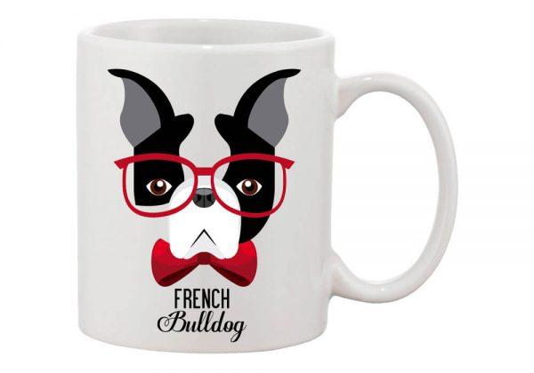 Szemüveges francia bulldog bögre
