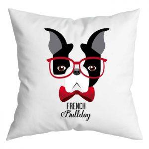 Szemüveges francia bulldog párna